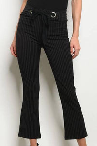 Pinstripe Kick Flare Pants (Black)