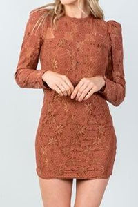 TOFFEE LACE BODYCON MINI DRESS