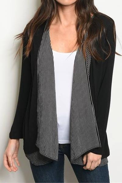 Colby Striped Open Front Cardigan