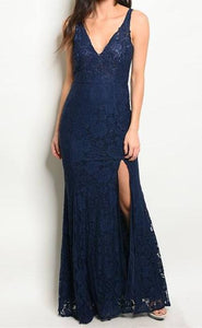 OLIVIA FLORAL LACE SLIT MAXI DRESS (NAVY)