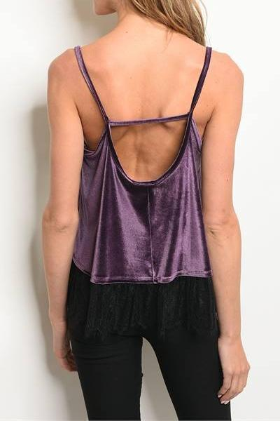 ROYAL LOOK VELVET LACE SWING TANK