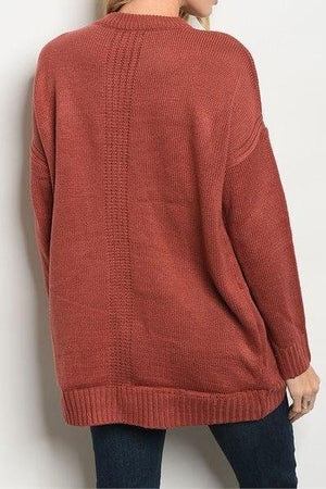 Riverwood Chunky Oversized Choker Sweater (Rust)