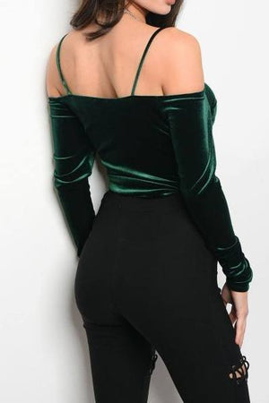 Emerald City Lace Up Velvet Bodysuit