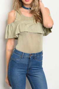 Ruffle Cold Shoulder Bodysuit (Sand)