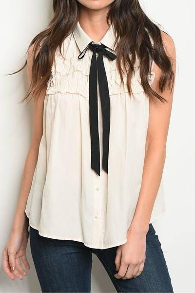 DESTINY TIE RUFFLE SILKY BUTTON UP BLOUSE