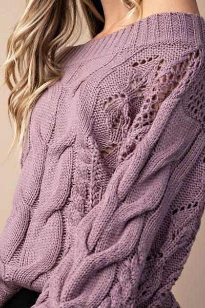 Parker Chunky Cable Knit Sweater (Ash Plum)