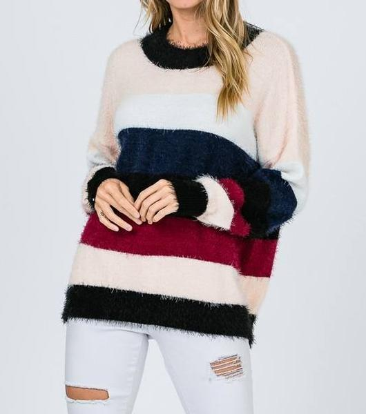 Striped Life Soft Mohair Sweater