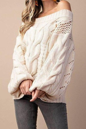 Parker Chunky Cable Knit Sweater (Ivory)