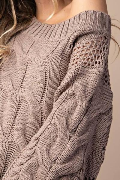 PARKER CHUNKY CABLE KNIT SWEATER (MOCHA)