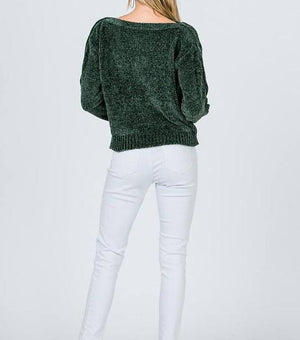 Paige Button Sleeve Chenille Sweater (Hunter)