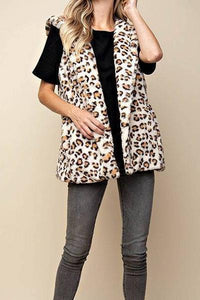 Faux Fur Hooded Leopard Vest