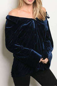 REGALIA OFF THE SHOULDER VELVET TOP (NAVY)