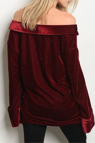 REGALIA OFF THE SHOULDER VELVET TOP (BURGUNDY)