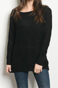 Slashed Distressed Back Knit Sweater (Black)