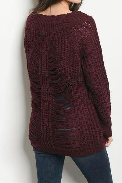 Slashed Distressed Back Knit Sweater (Merlot)