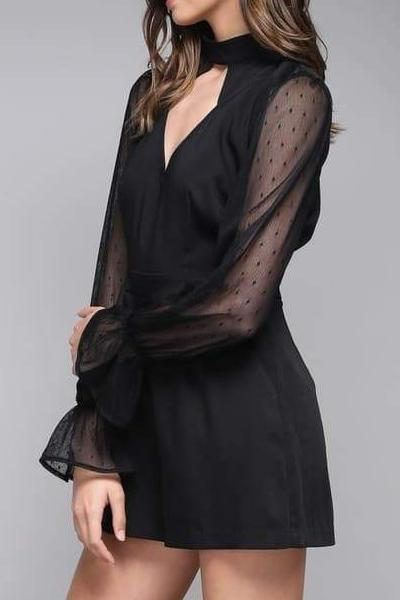 VENUS SHEER SLEEVE BLACK CHOKER ROMPER