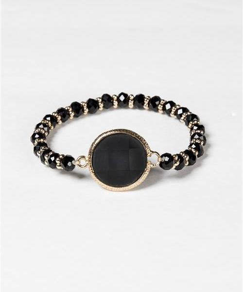 BLACK CRYSTAL GOLD STRETCH BRACELET