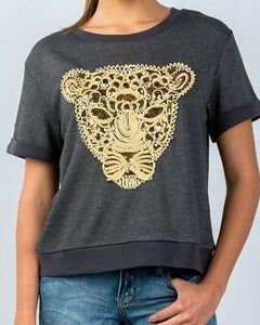 Sequin Embroidered Panther Short Sleeve Sweatshirt