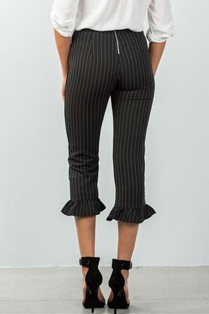 PINSTRIPE HIGH WAIST RUFFLE CROP PANTS