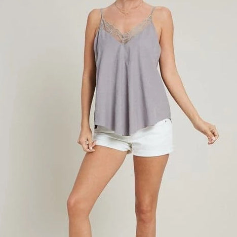 Ally Lace Trim Soft Cami (Cool Gray)
