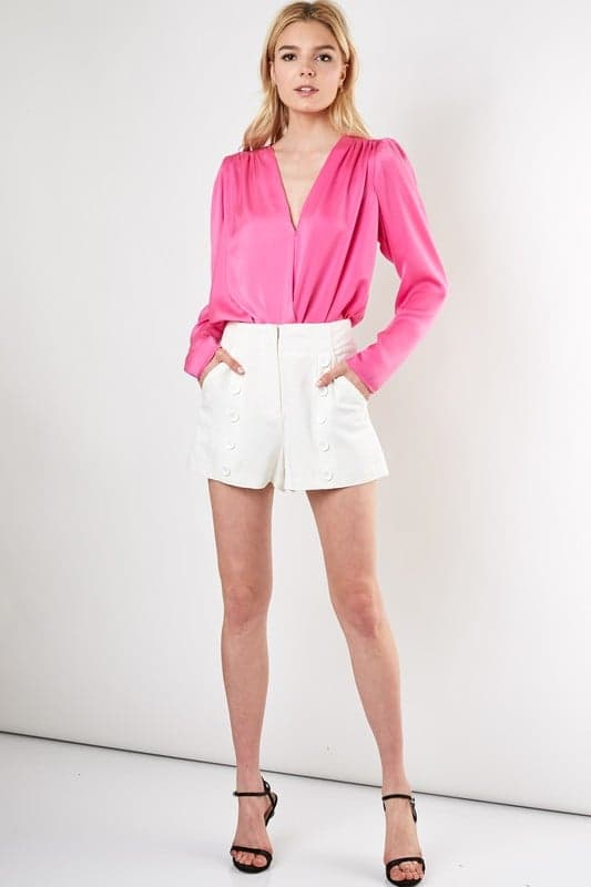 Neon Night Satin Surplice Bodysuit (Hot Pink)