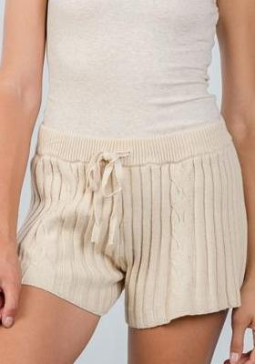 COZY SWEATER CABLE KNIT DRAWSTRING SHORTS