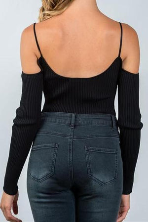 Audra Ribbed Cold Shoulder Bodysuit (Black)