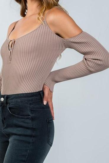 Audra Ribbed Cold Shoulder Bodysuit (TaupeE)
