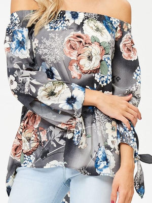 Floral Off the Shoulder Sleeve Tie Blouse
