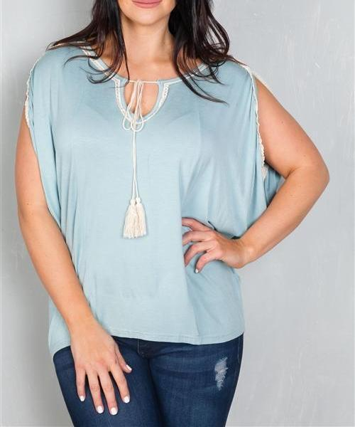 Blue Crochet Trim Peasant Top (Plus)