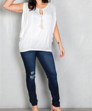 White Crochet Trim Peasant Top (Plus)