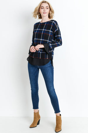 GLASGOW PLAID MIXED MEDIA BLOUSE (NAVY)