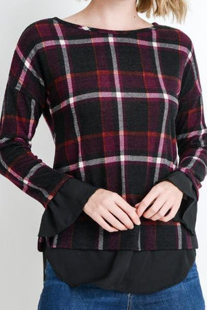 GLASGOW PLAID MIXED MEDIA BLOUSE (BERRY)