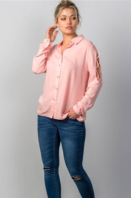 Criss Cross Sleeve Detail Blouse (Pink)