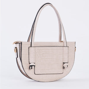 Jillian Croc Embossed Vegan Leather Bag (Stone)