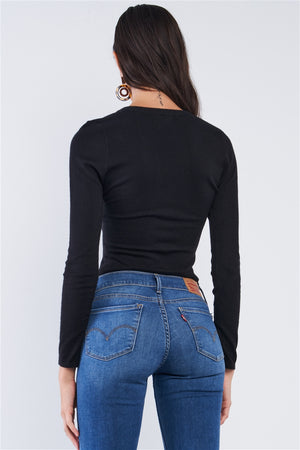 Just the Basics Ribbed Long Sleeve Black Bodysuit