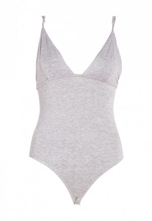 Plunging Gray Cami Bodysuit