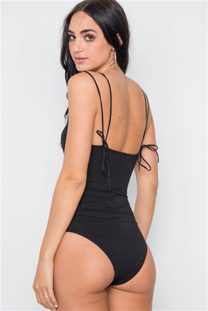 All Tied Up Cami Bodysuit (Black)