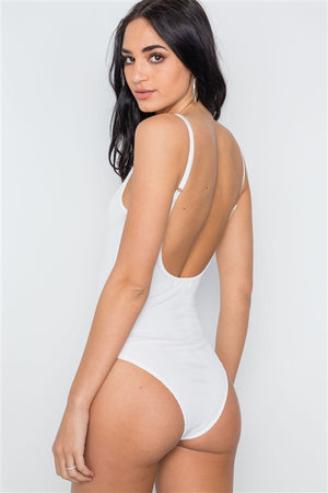Vivian Fishnet Overlay Open Back Bodysuit (White)