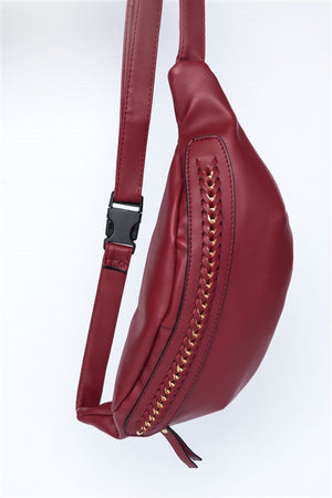 Red Soft Leather Chain Fanny Pack