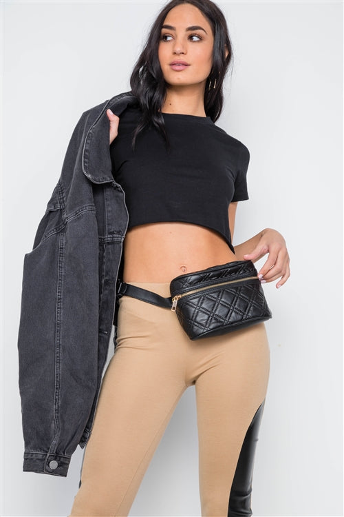 Galaxy Quilted Leather Waist Bag (Black)