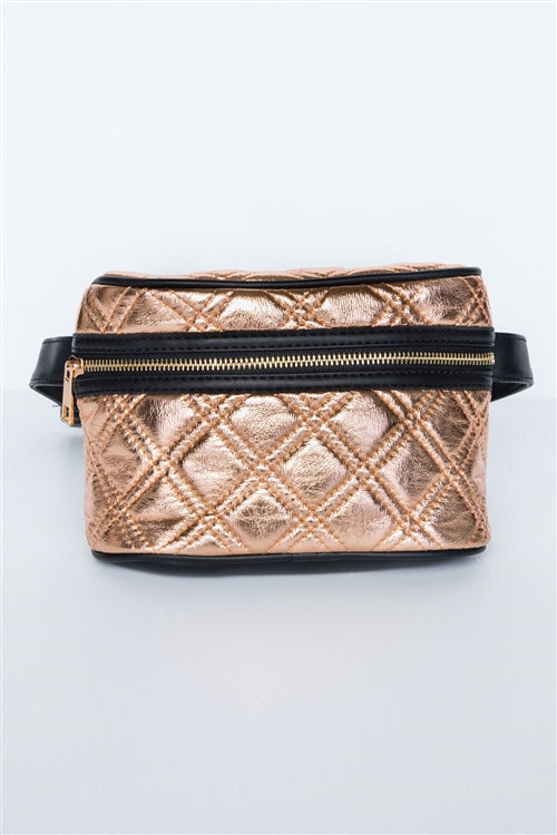 Galaxy Quilted Leather Waist Bag (Rose Gold)