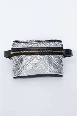Galaxy Quilted Leather Waist Bag (Silver)