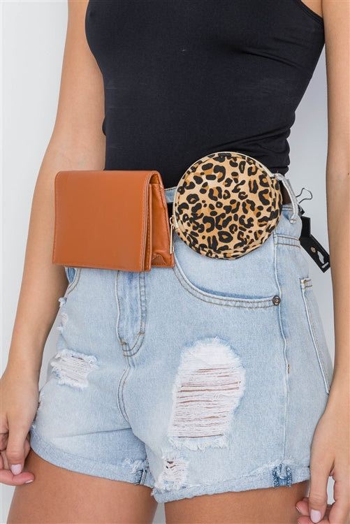 Into the Wild Double Fanny Pack Leopard Belt Bag