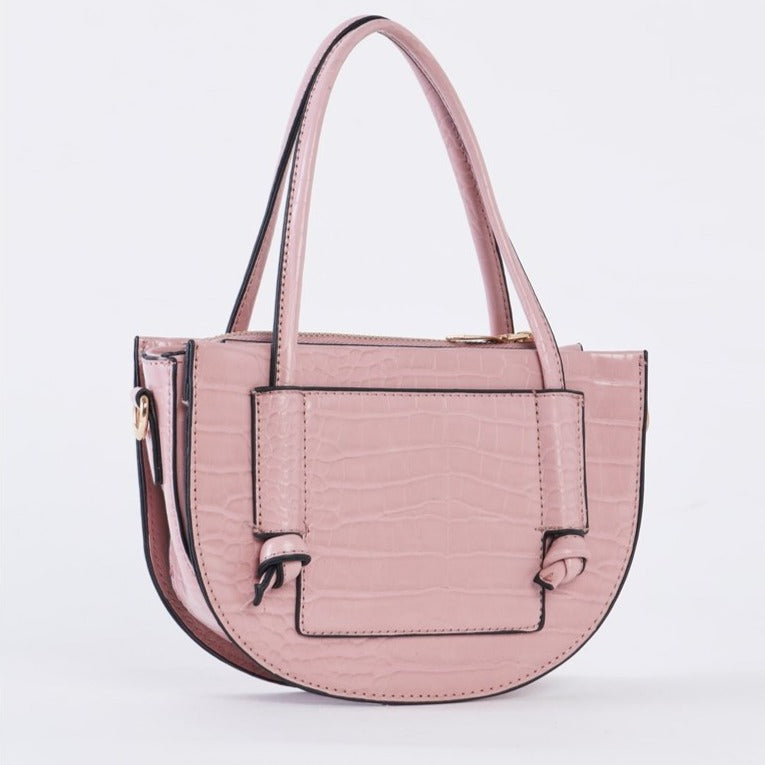Jillian Croc Embossed Vegan Leather Bag (Pink)