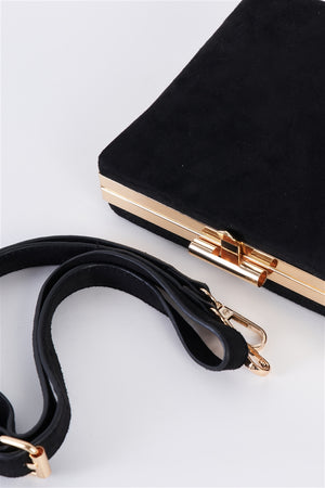 Lana Vegan Suede Box Clutch/Crossbody (Black)