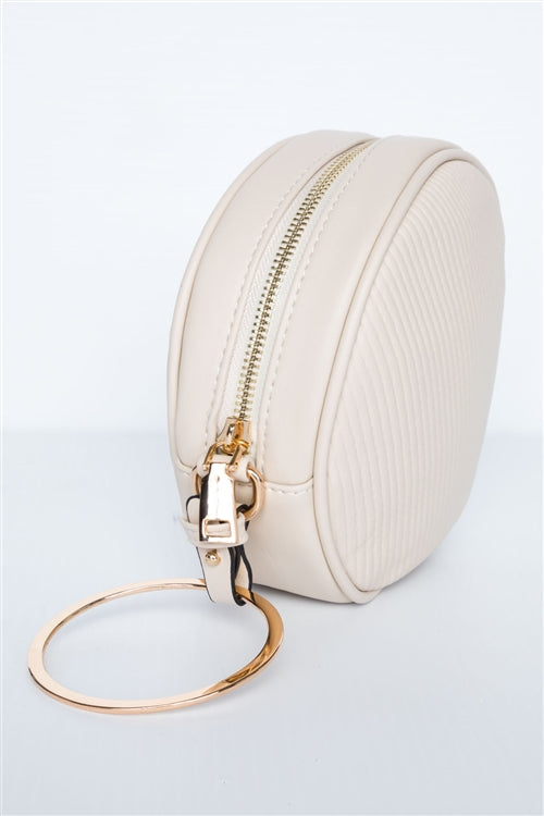 Paris in Spring Beige Faux Leather Circle Bag
