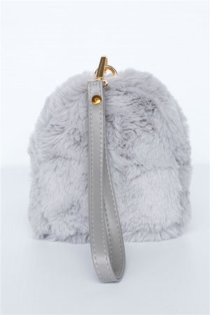 Pretty & Sweet Faux Fur Wristlet (Gray)