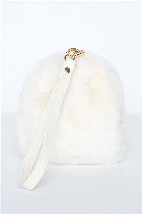 Pretty & Sweet Faux Fur Wristlet (Ivory)