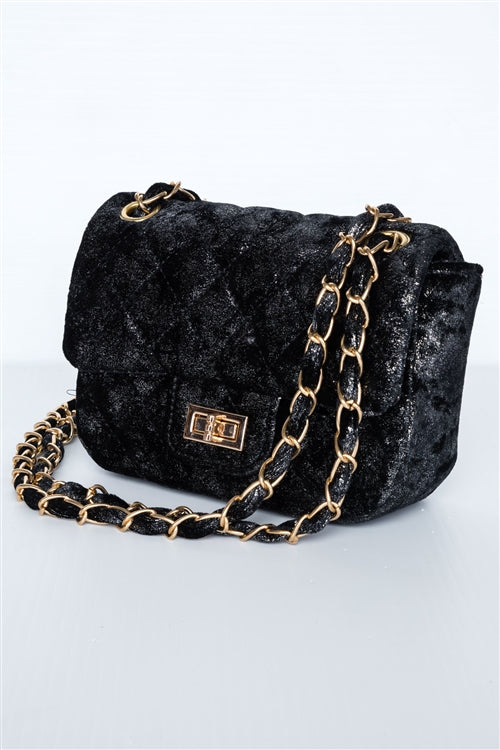 Classic Quilted Velvet Shoulder Bag (Black)